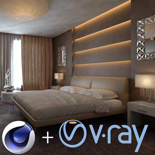 Cinema4D + Vray: Hotel Room Design Interior