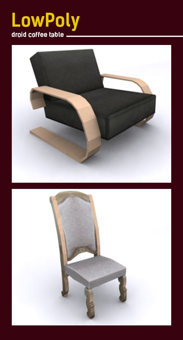 3D lowpoly luxury chair model - 3DOcean Item for Sale