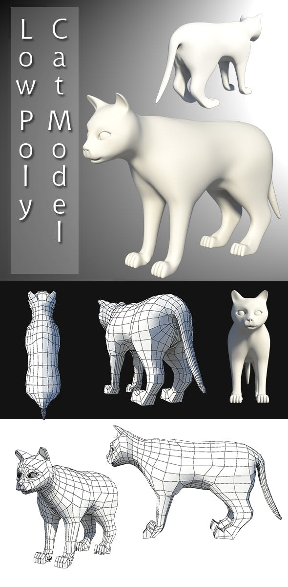 Low Poly Cat Model - 3DOcean Item for Sale