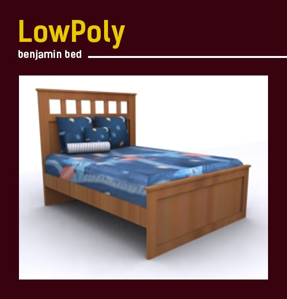 3D lowpoly Benjamin Bed model - 3DOcean Item for Sale