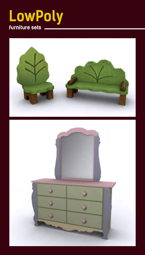 Lowpoly 3D  furniture model - 3DOcean Item for Sale
