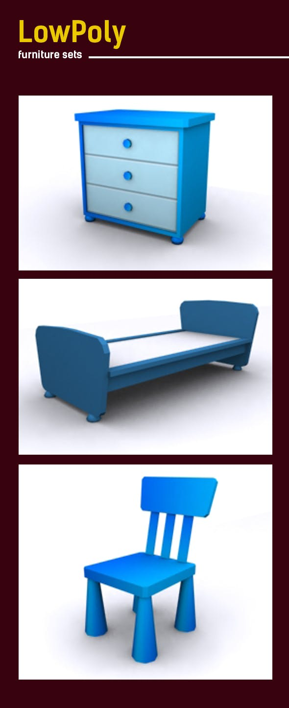 Lowpoly 3D furniture set - 3DOcean Item for Sale