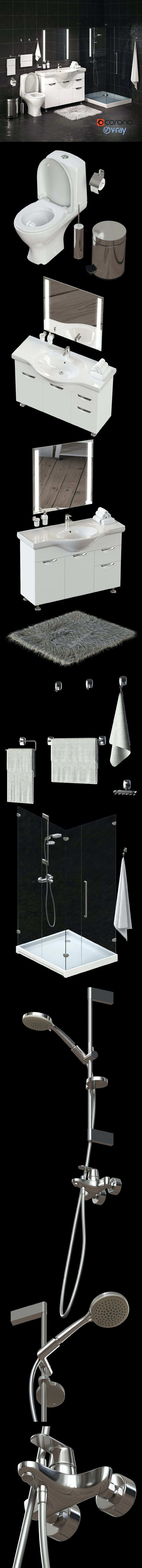 Set of bathroom equipment and accessories for bathrooms - 3DOcean Item for Sale