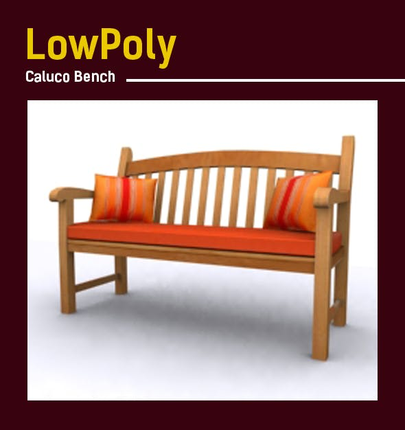 3D lowpoly Caluco bench model - 3DOcean Item for Sale