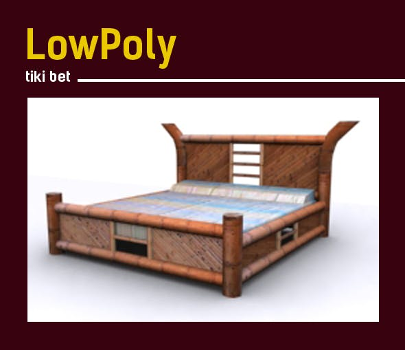3D lowpoly tiki bed model - 3DOcean Item for Sale