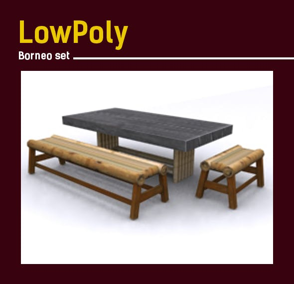 3D lowpoly Bamboo Borneoset model - 3DOcean Item for Sale