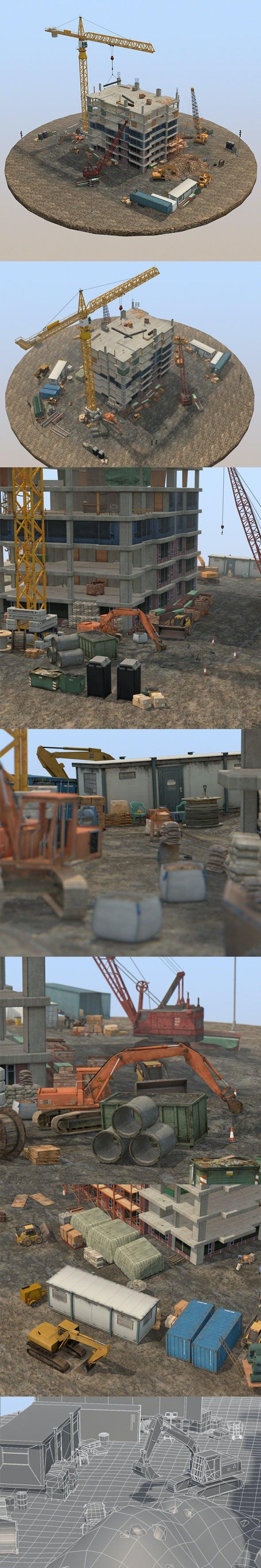 Under Construction Scene Pack - 3DOcean Item for Sale