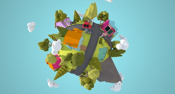 Little Town Lowpoly Miniplanet - 3DOcean Item for Sale