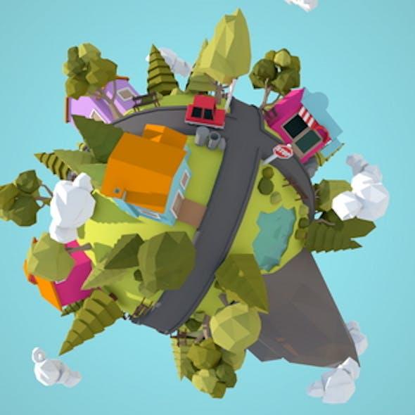 Little Town Lowpoly Miniplanet