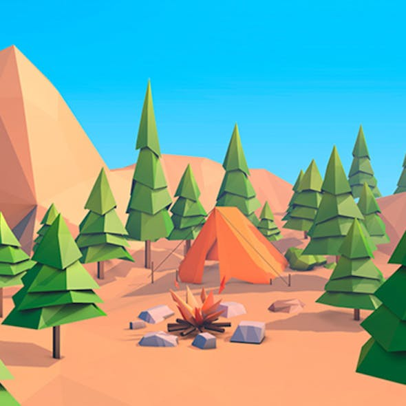 Cartoon Low Poly Forest Island 2.0