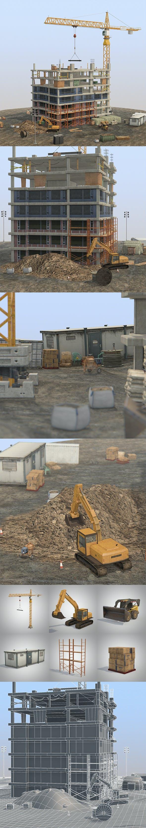 Under Construction Scene Lite Pack - 3DOcean Item for Sale