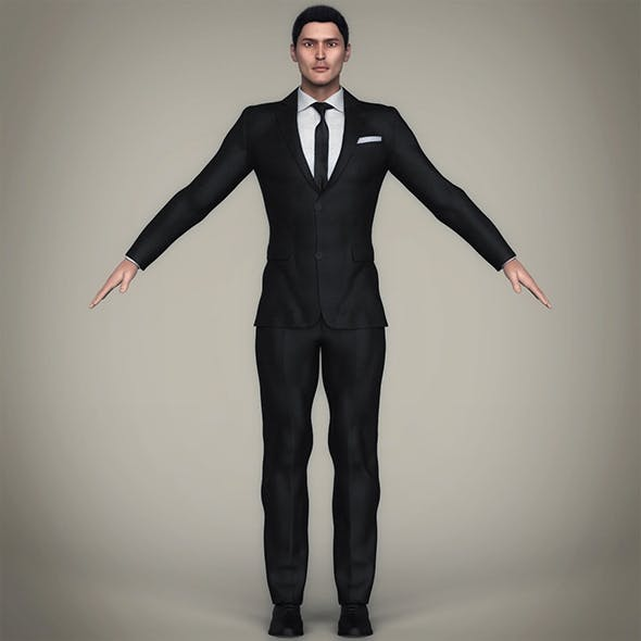 Realistic Handsome Suit Man - 3DOcean Item for Sale