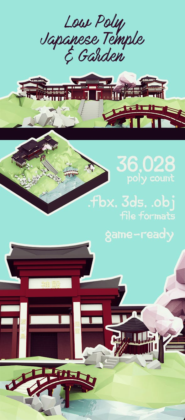 Low Poly Japanese Temple & Garden - 3DOcean Item for Sale