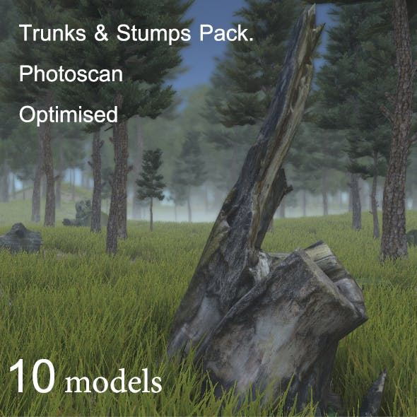Trunks & Stumps Pack. Photoscan Optimised