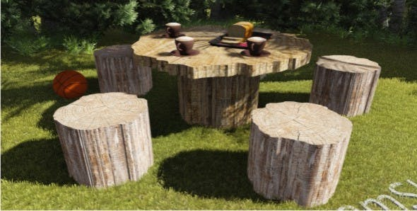 Tree Trunk Garden Table - 3DOcean Item for Sale