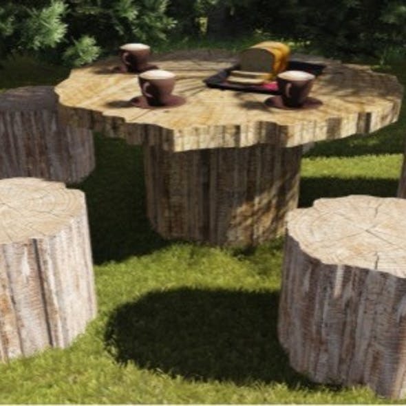 Tree Trunk Garden Table