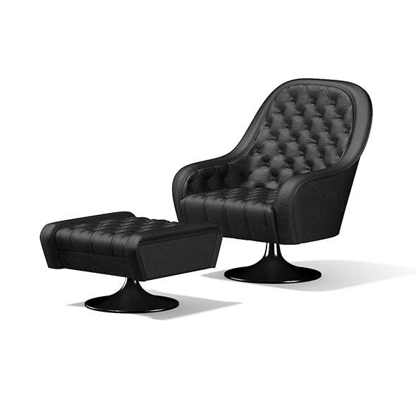 Leather Armchair with Footrest - 3DOcean Item for Sale