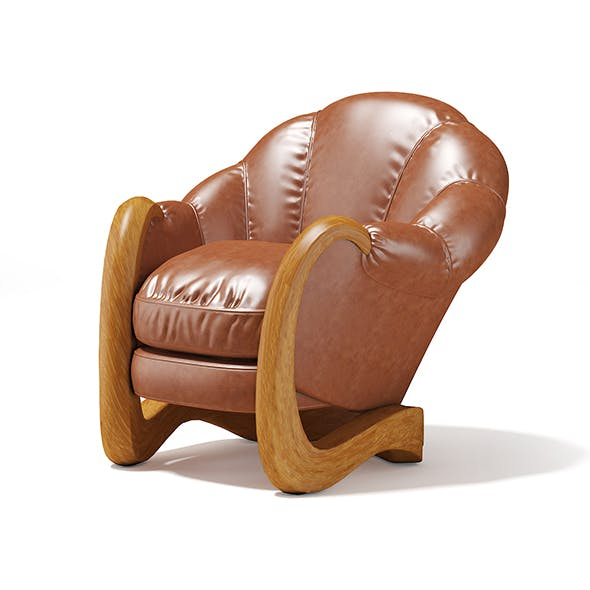 Brown Leather Armchair - 3DOcean Item for Sale