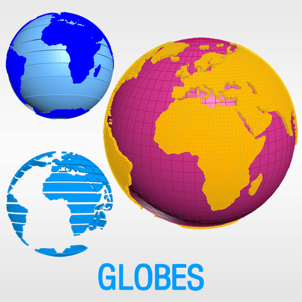 World Globes (Geographic) - 3DOcean Item for Sale