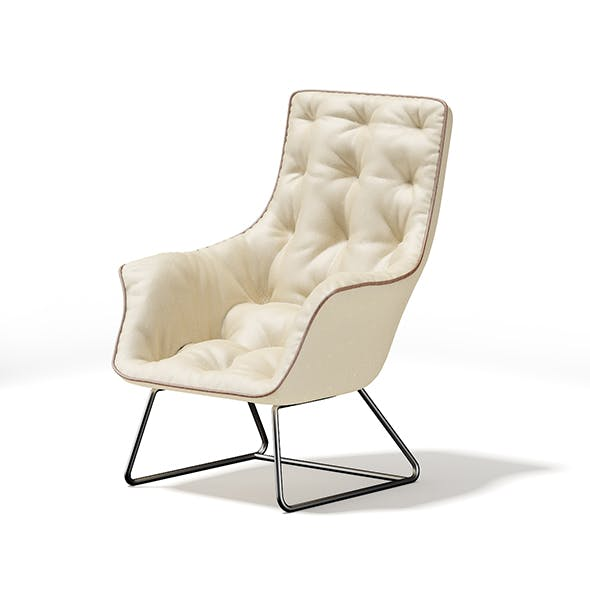Beige Leather Armchair - 3DOcean Item for Sale