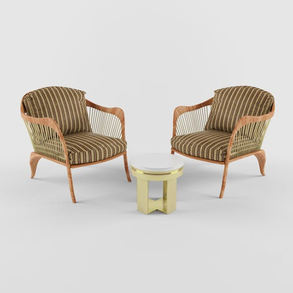 Vray Ready Arm Chair With longue