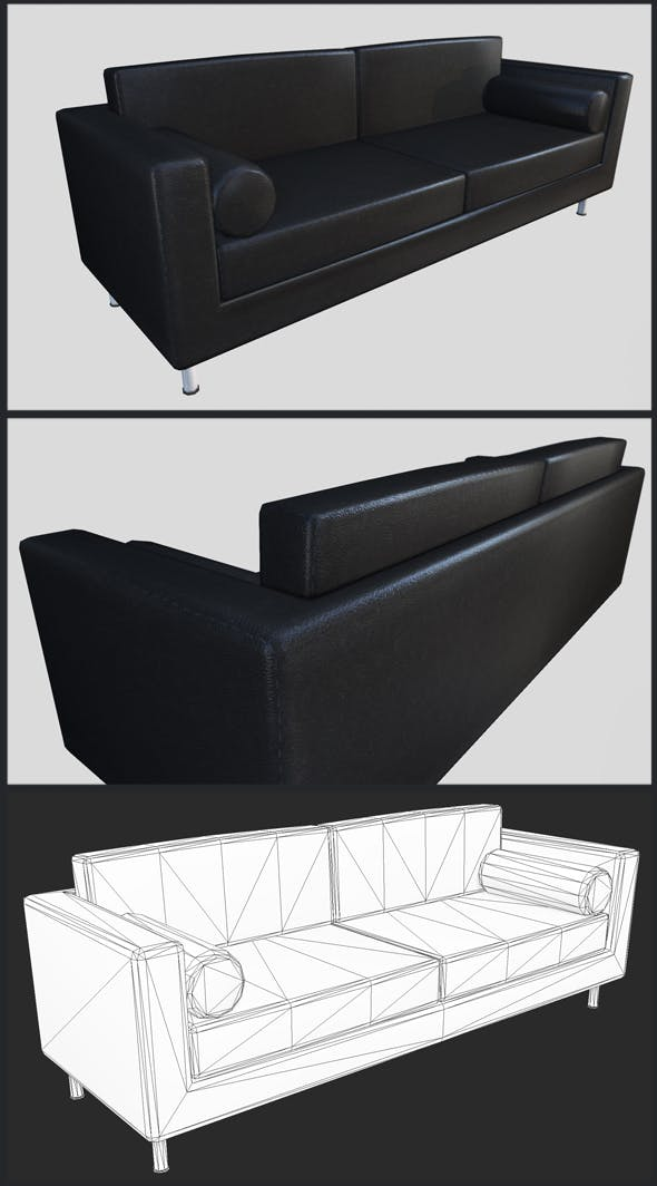 Black Leather Couch - 3DOcean Item for Sale
