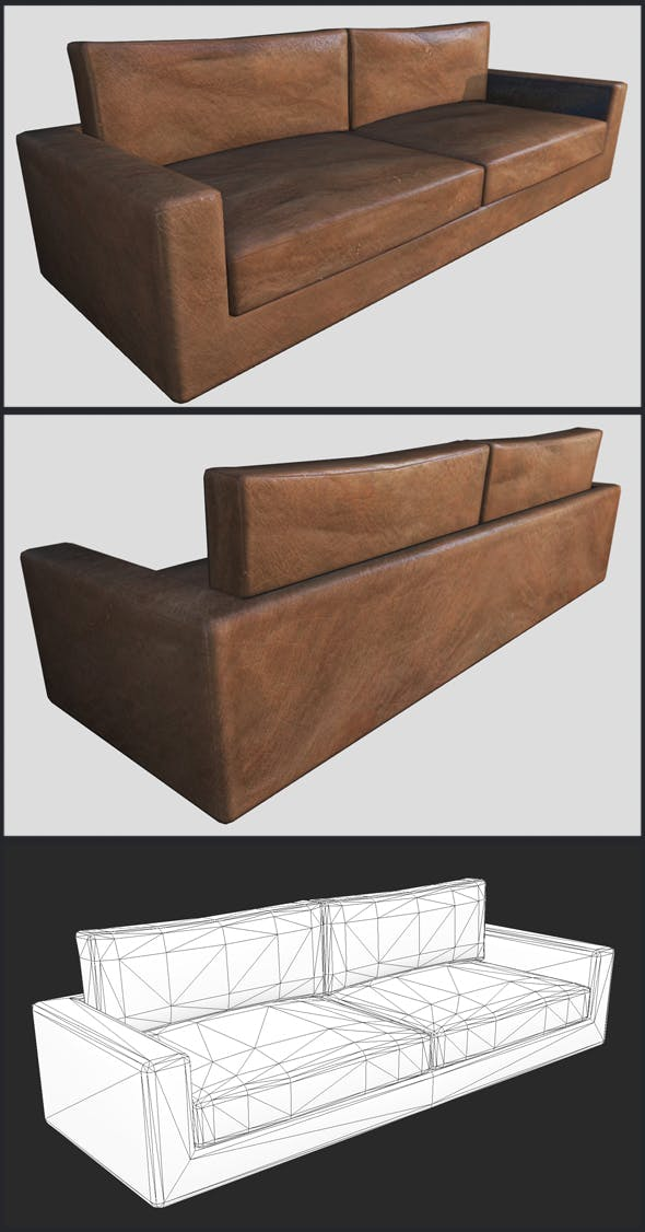 Brown Leather Couch - 3DOcean Item for Sale