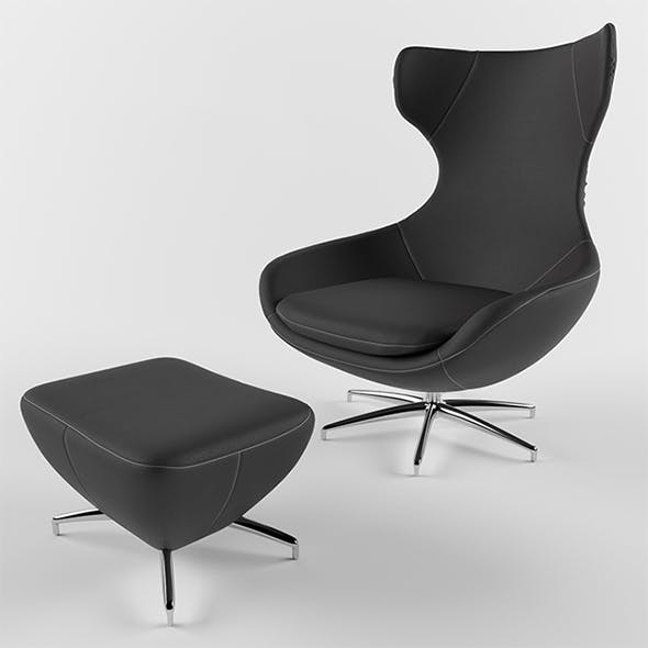 Vray Ready Leather Chair with Longue - 3DOcean Item for Sale
