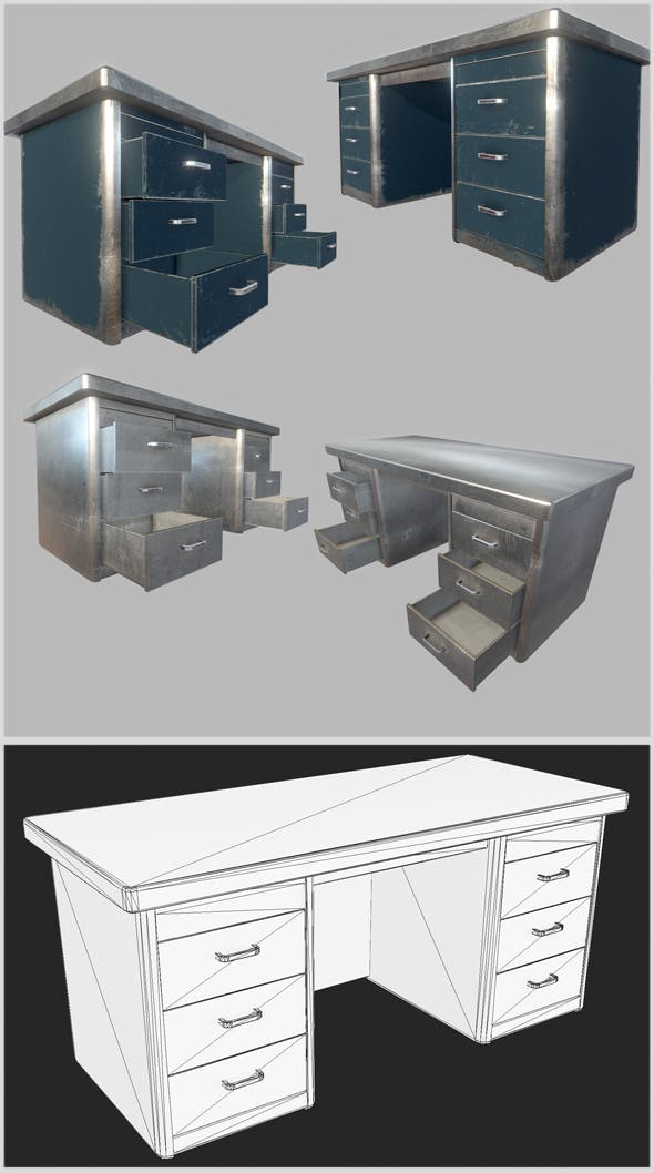 Old Office Steel Tables - 3DOcean Item for Sale