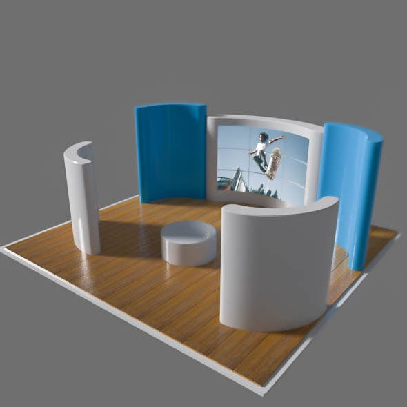 exhibition stand with screens