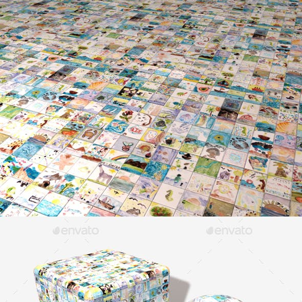 Childrens Painted Tiles Seamless Texture