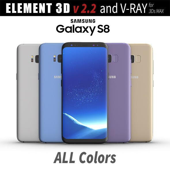 Samsung Galaxy S8 All Colors for Element 3D and V-ray