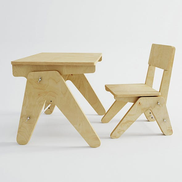 Vray Ready Wooden Chair with Table - 3DOcean Item for Sale