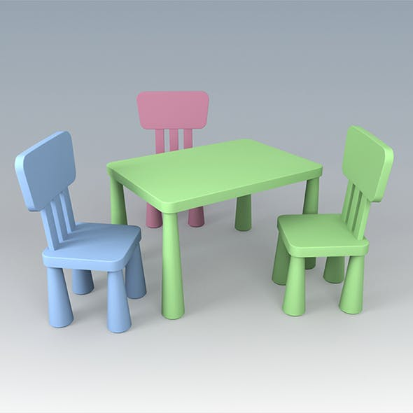 Vray Ready Children Plastic Chair with Table - 3DOcean Item for Sale