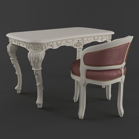 Vray Ready Royal Chair with Table - 3DOcean Item for Sale