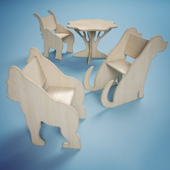Vray Ready Modern Wooden Children Chair Collection