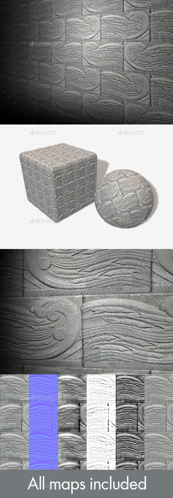 Squid Wave Carved Bricks Seamless Texture - 3DOcean Item for Sale
