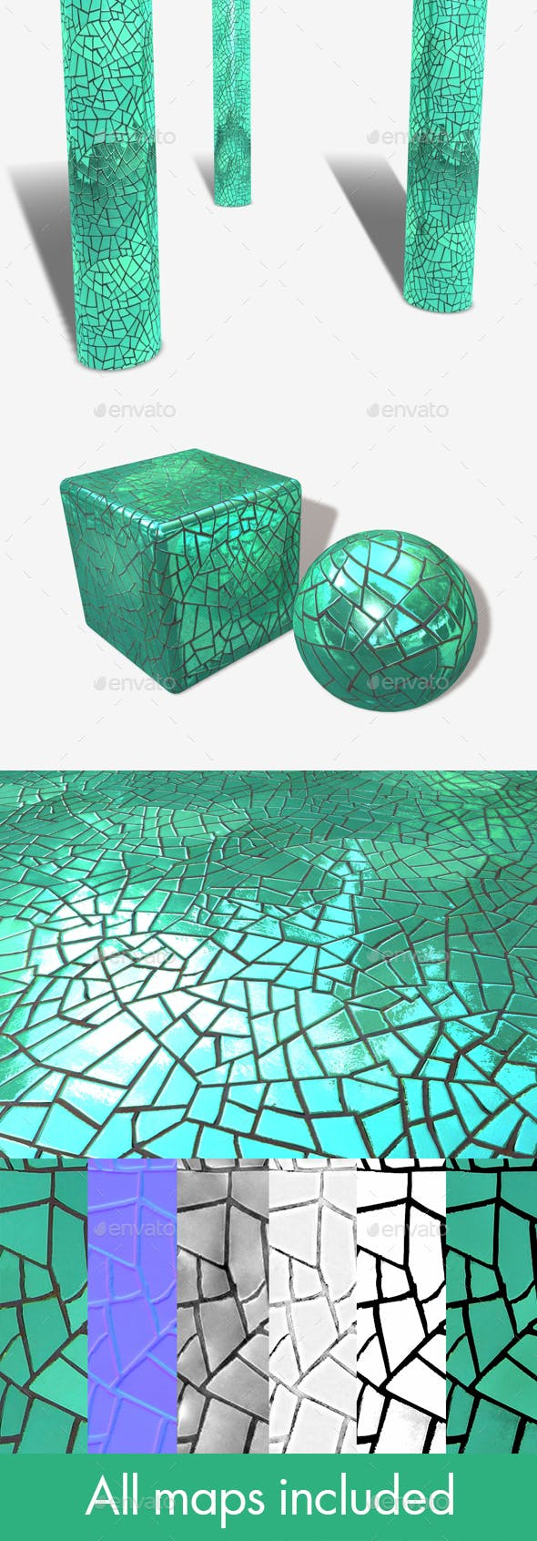 Green Mirror Mosaic Seamless Texture - 3DOcean Item for Sale