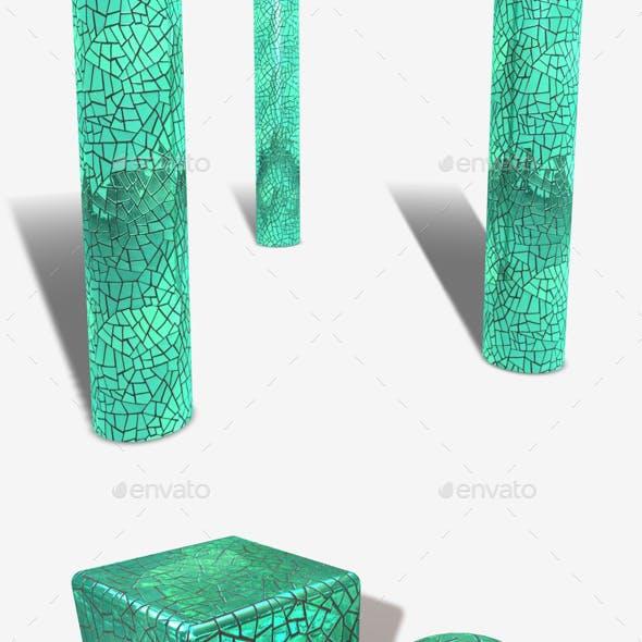 Green Mirror Mosaic Seamless Texture