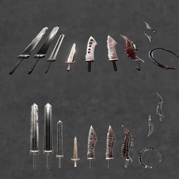 PBR fantasy swords - 3DOcean Item for Sale