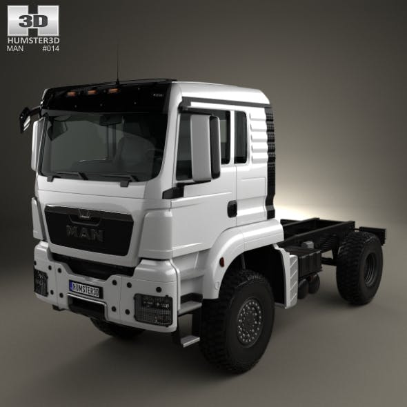 MAN TGS 4×4 L cab Tractor Truck 2007 - 3DOcean Item for Sale