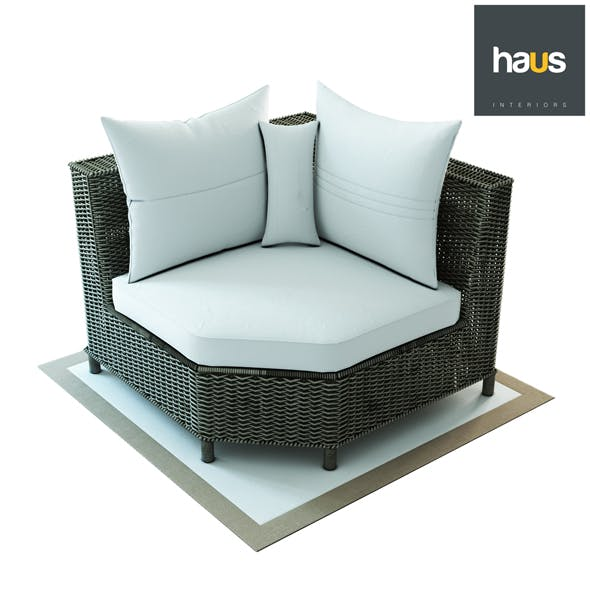 Haus Interior, Corner armchair made of woven rattan