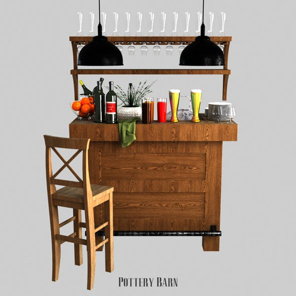 Pottery barn Rustic Ultimate Bar - Small - 3DOcean Item for Sale