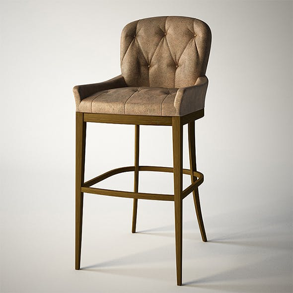 Vray Ready Wooden Bar Chair - 3DOcean Item for Sale