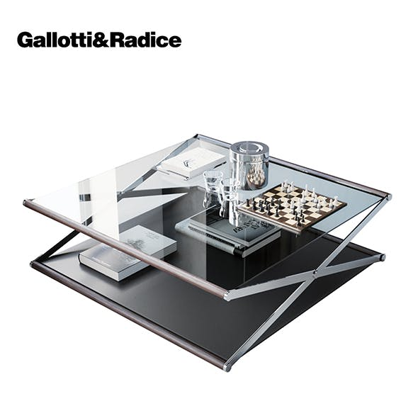 Nox Glass Wood and Metal Coffee Table by Gallotti & Radice - 3DOcean Item for Sale