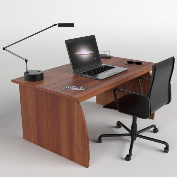 Office Desk with Chair and Laptop