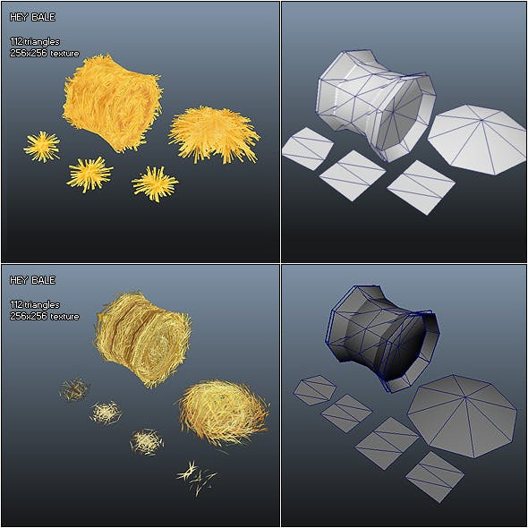 Low Poly Hay Bale - 3DOcean Item for Sale
