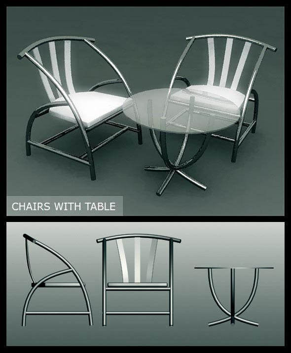 Modern chairs with table - 3DOcean Item for Sale