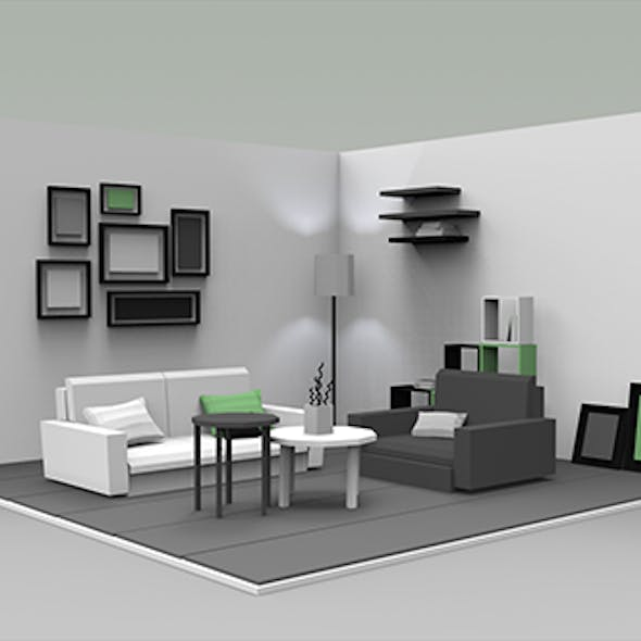 Low Poly Interiors - Living Room