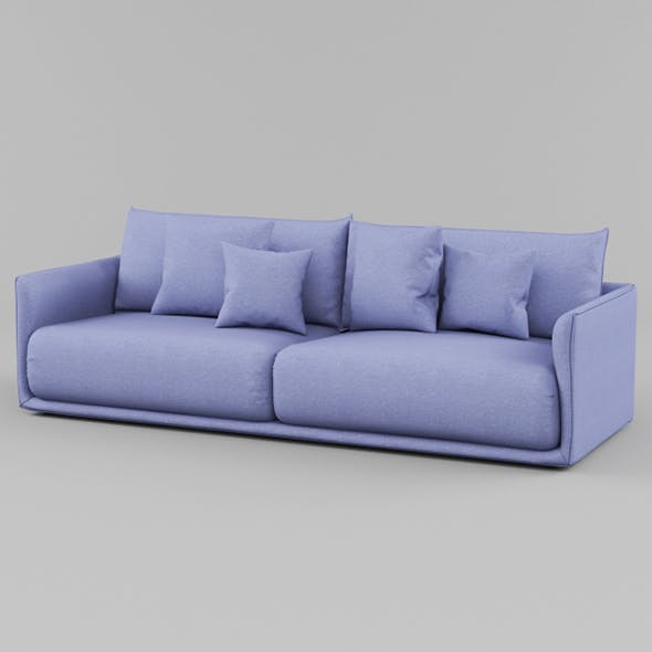 Vray Ready Luxury Blue Fabric Sofa - 3DOcean Item for Sale
